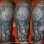wolf and skull tattoo
